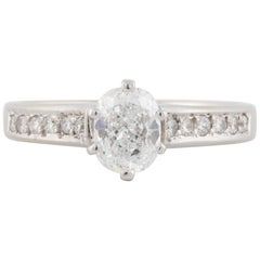 18 Karat Cushion Cut Diamond Engagement Ring