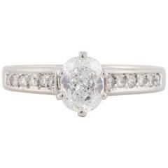 18 Karat Cushion Cut Diamond Engagement Ring