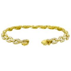 Estate Diamond Link Tennis Bracelet 7 Carat 18 Karat Yellow Gold Modernist 1970s