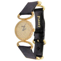 18 Karat Yellow Gold and Diamond Piaget Wristwatch