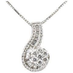 2.25 Carat Diamond Asymmetrical Pendant 14 Karat White Gold with Chain