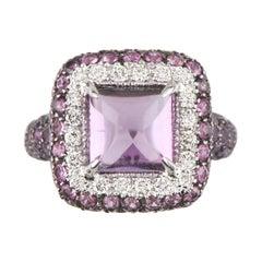 Sugarloaf Amethyst, Diamond, Sapphire 18 Karat White Gold Ring