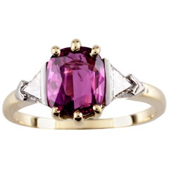 1.50 Carat Ruby with Trillion Diamond Accent 18 Karat Yellow Gold Ring