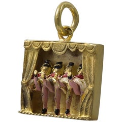 Silver Gilt and Enamel Mechanical Can Can Charm