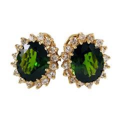 14 Karat Green Chroma Tourmaline Diamond Halo Earrings