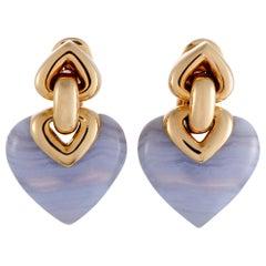 Bvlgari Doppio Cuore 18 Karat Gold Chalcedony Double Heart Clip-On Earrings