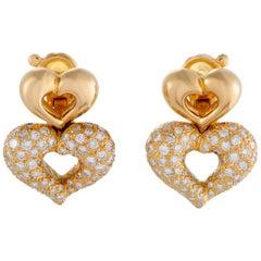 Van Cleef & Arpels 18 Karat Yellow Gold Diamond Double Heart Clip-On Earrings
