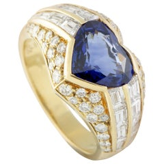 Bulgari Diamond and Heart Cut Sapphire Yellow Gold Band Ring