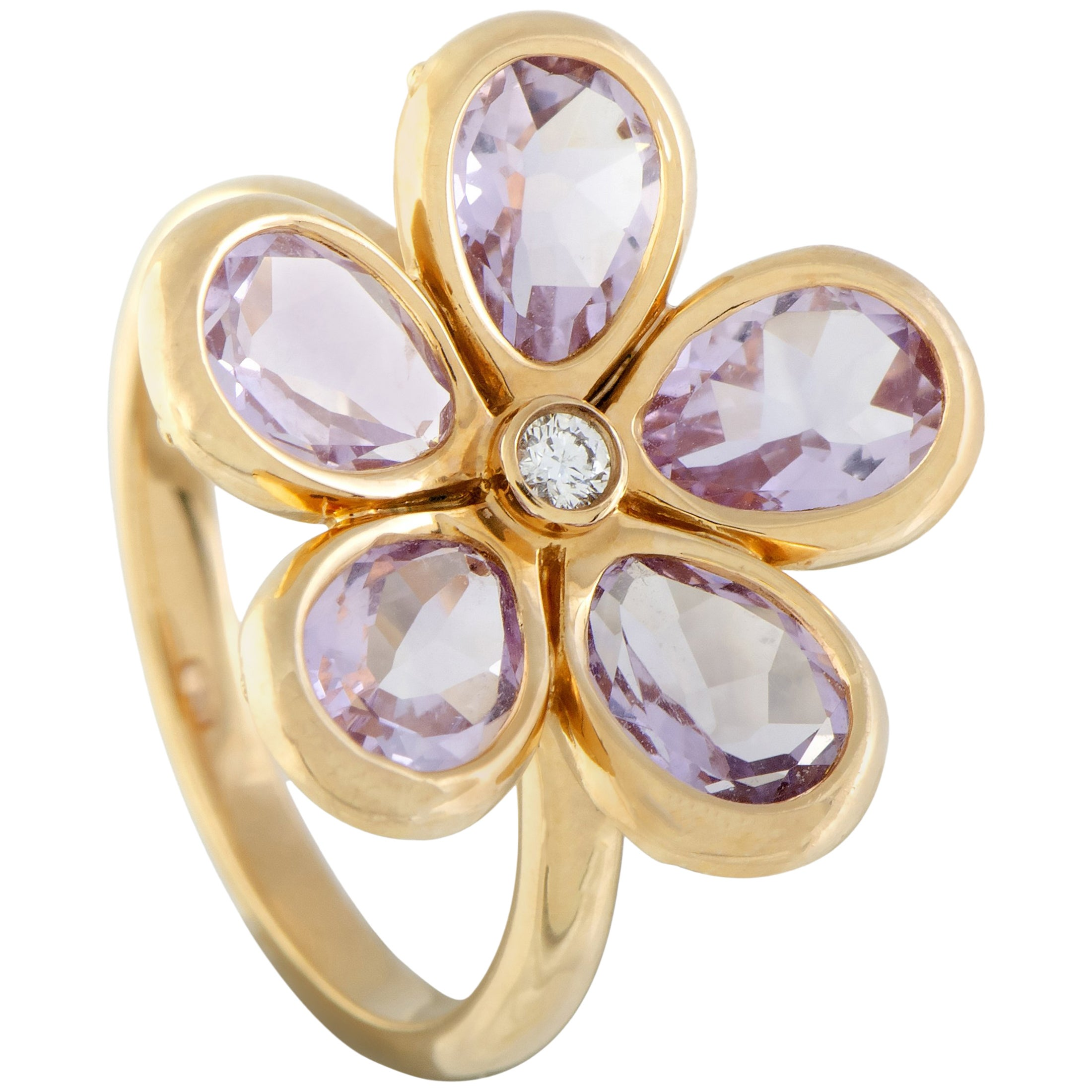 34d555c0d Tiffany And Co 18 Karat Rose Gold 1 Diamond And 5 Petals Amethyst Flower  Ring At