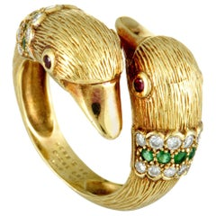 Van Cleef & Arpels Diamond, Ruby and Emerald Swan Yellow Gold Bypass Ring
