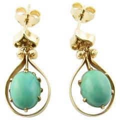 Vintage 14 Karat Yellow Gold Turquoise Earrings #4373