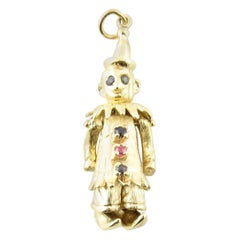Vintage 14 Karat Yellow Gold Sapphire Pearl and Ruby Articulated Clown Pendant