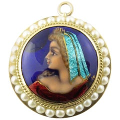 Vintage 14 Karat Yellow Gold and Seed Pearl Painted Cameo Pendant / Brooch #4384