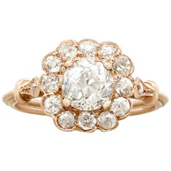 Antique and Contemporary 1.69 Carat Diamond Gold Cluster Ring