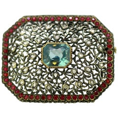 Antique Victorian 15 Karat Gold and Sterling Silver Brooch with Aquamarine, 1880
