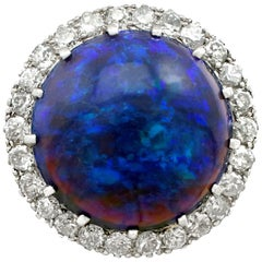 Antique 1930s 7.20 Carat Black Opal and Diamond Platinum Dress Ring