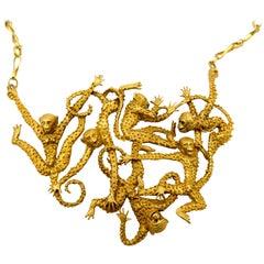 "Eric de Kolb Gold ""Monkey Madness"" Necklace"