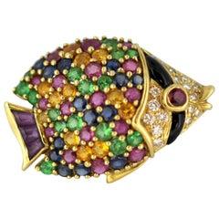 Jean Vitau 18 Karat Gold, Diamond, Ruby, Rainbow Sapphire Cluster Fish Brooch