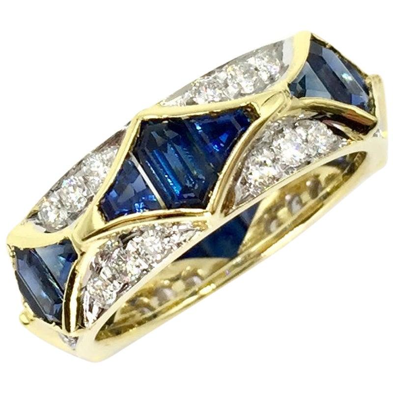 18 Karat Blue Sapphire and Diamond Eternity Ring