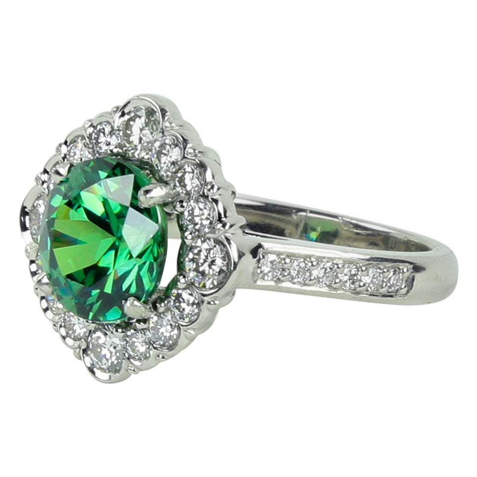 3.65 Carat Demantoid Garnet Diamond Platinum Ring