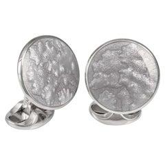 Deakin & Francis Sterling Silver Summer Haze Enamel Cufflinks in Silver