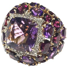 Mimi Purple Amethyst Cocktail Ring in 18 Karat Pink Gold and Diamond Halo