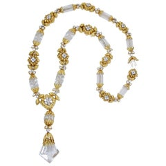 David Webb Two-Tone Rock Crystal Diamond Sautoir Necklace