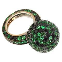 Paolo Piovan Black Diamonds Green Tsavorite Ring