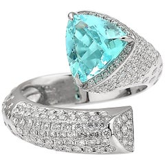 Paolo Costagli 18 Karat White Gold 2.02 Carat Paraiba-Type and Diamond Ring