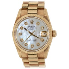 Rolex Datejust Mother of Pearl and Diamonds, 68278 Midsize 18 Karat Gold Ladies