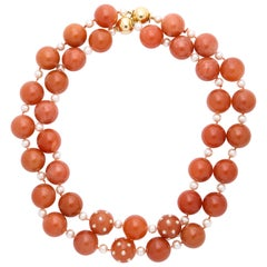 Pair of Verdura Carnelian Pearl Gold Necklaces