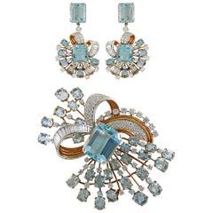Trabert & Hoeffer Mauboussin Diamond Aquamarine Brooch Earrings