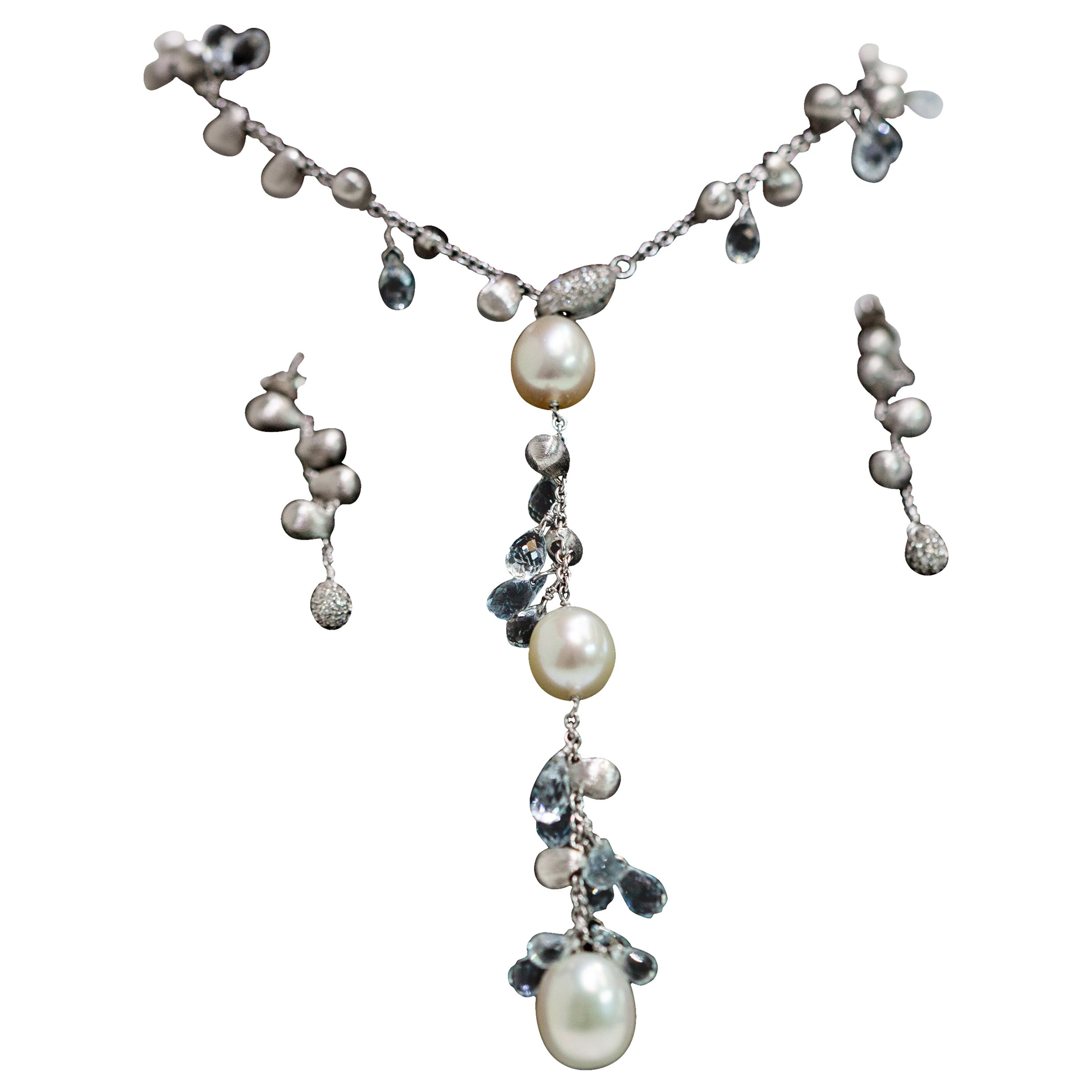 Marco Bicego 18k White Gold Lariat Necklace & Earrings With Blue Topaz & Pearl