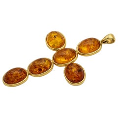 Large Amber and 18 Karat Gold Cross Pendant