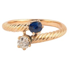 Diamond Sapphire and Gold Two-Stone Ring