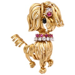 Van Cleef & Arpels Ruby Diamond Gold Dog Pin