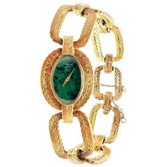 Vintage Chopard Malachite Dial Manual Wind Yellow Gold Watch
