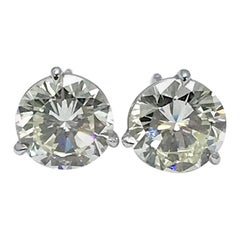 4.51 Carat Total Weight Round Brilliant Diamond Stud Earrings in Platinum