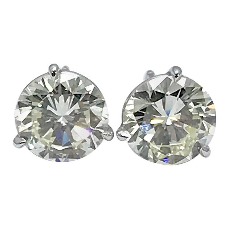 4.51 Carat Total Weight Round Brilliant Diamond Stud Earrings in Platinum For Sale