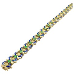 Retro Royal Blue and Shamrock Green Enamel and 18 Karat Yellow Gold Bracelet