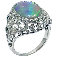 Art Deco 3.17 Carat Autralian Opal and Diamond Platinum Ring