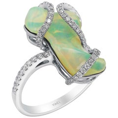 Freeform White Opal and Diamond Ring