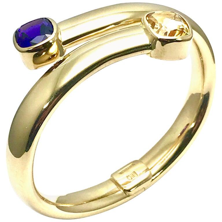 5 00 Carat Amethyst and 5 00 Carat Citrine Yellow Gold Bypass Bangle  Bracelet