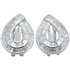 3.75 Carat Channel Set Baguette Diamond and White Gold Clip/Post Earrings