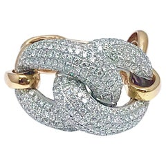 2.35 Carat Round Brilliant Pave Diamond Rose Gold Chain Link Fashion Ring