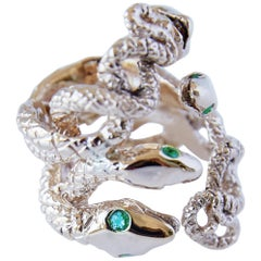 Emerald Gold Cocktail Ring Four Head Snake Statement J Dauphin