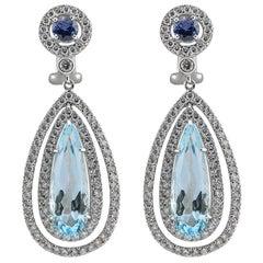 Blue Topaz, Sapphire and Diamond Dangle Earrings