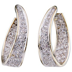 5.50 Carat Diamond Two-Tone Gold Curved Round Hoop Earrings with Omega Backs