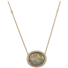 Rose-Cut White Opal and Diamond Necklace