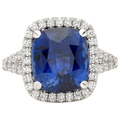 Spectacular GIA 7.06 Carat Unheated Natural Sapphire Diamond Ring